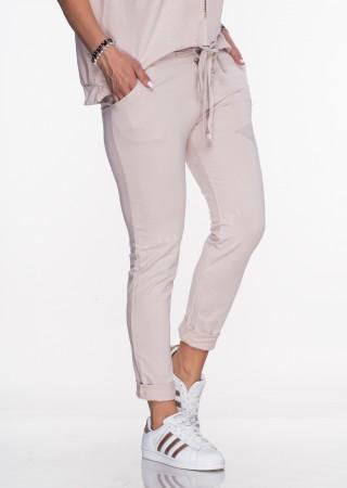 Włoskie spodnie dresowe Effect Star pudrowy róż