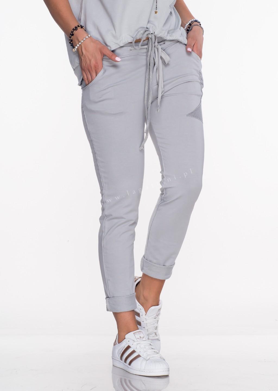 Włoskie spodnie dresowe Effect jasny szary