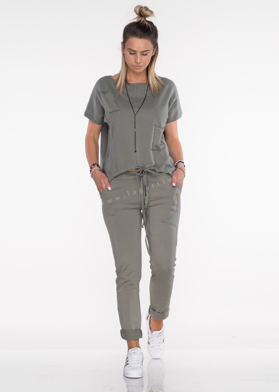 Włoska bluza dresowa Effect khaki