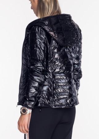 Włoska pikowana kurtka ZDOBIONY KAPTUR czarny połysk