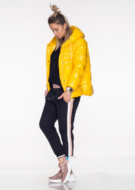 Włoska pikowana kurtka JERSAY żółty połysk