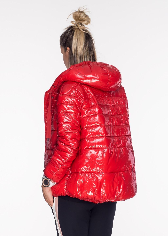 Włoska pikowana kurtka JERSAY czerwony połysk