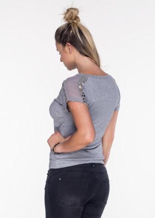 Włoski t-shirt siateczka + zdobienia szary