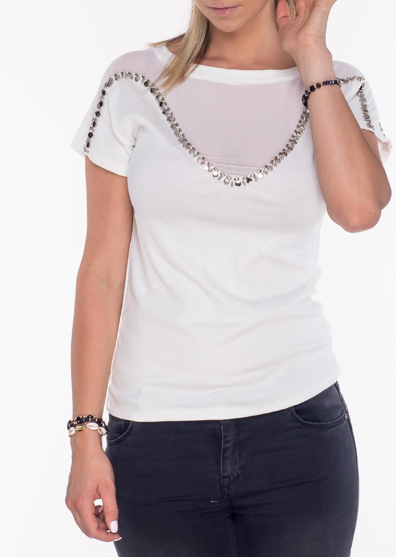 Włoski t-shirt siateczka + zdobienia ecru