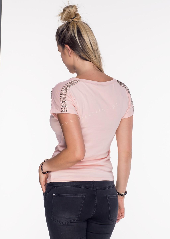 Włoski t-shirt siateczka + zdobienia różowy