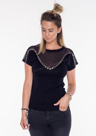 Włoski t-shirt siateczka + zdobienia czarny