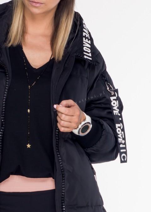 Włoski płaszcz LOVE LOVE czarny mat
