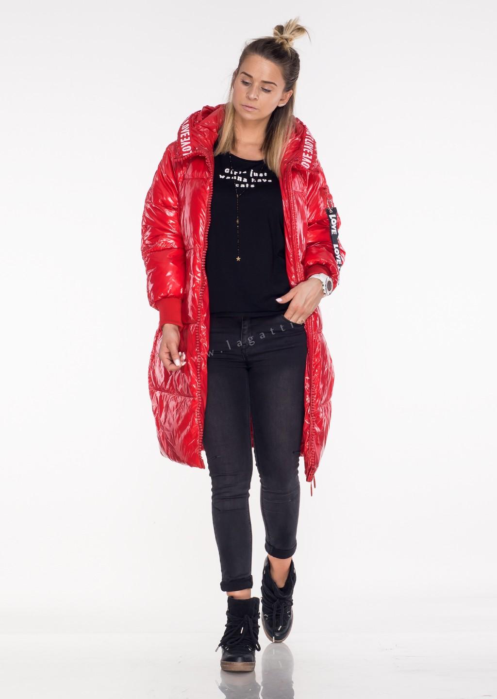 Włoski płaszcz LOVE LOVE czerwony połysk