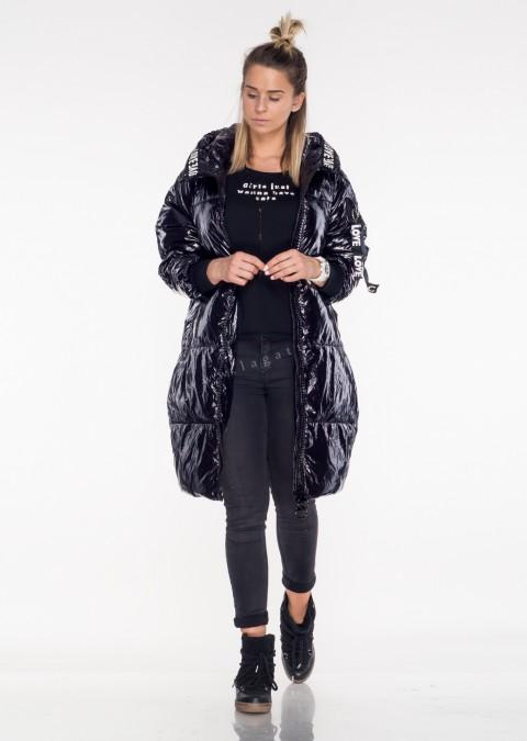 Włoski płaszcz LOVE LOVE czarny połysk