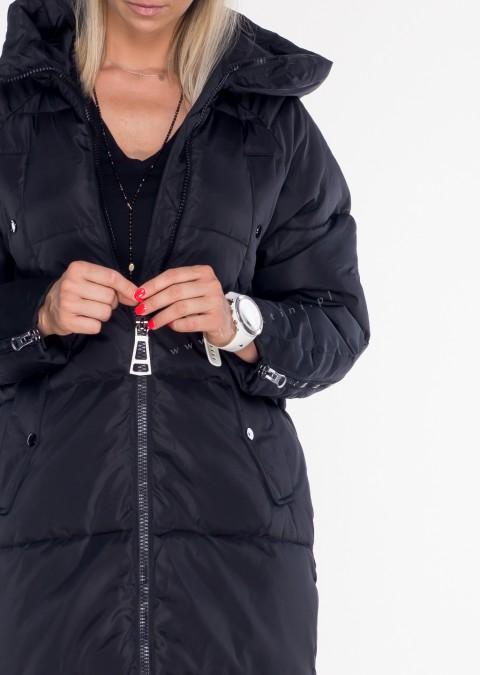 Włoski płaszcz ROZPINANE RĘKAWY czarny