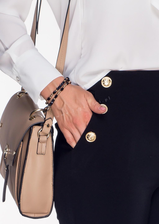 Włoskie spodnie OFFICE GOLD BUTTONS czarne