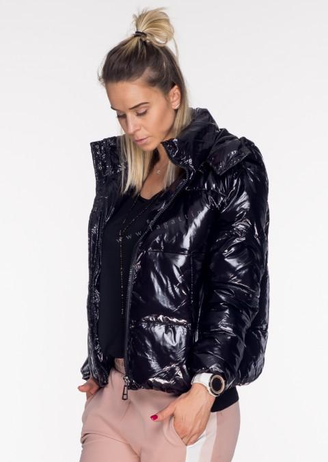 Włoska pikowana kurtka JERSAY 2w1 odpinany kaptur czarna