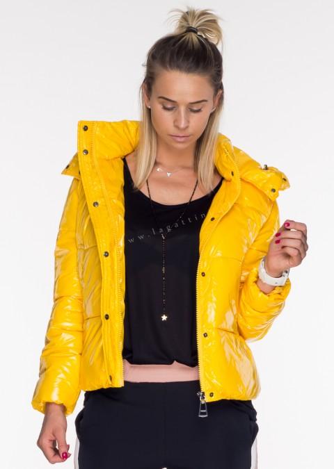 Włoska pikowana kurtka JERSAY 2w1 odpinany kaptur żółta