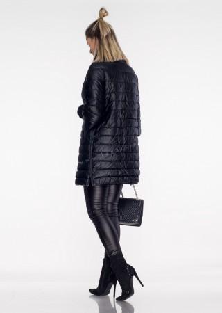 Włoski płaszczyk pikowany EKO-SKÓRA czarny