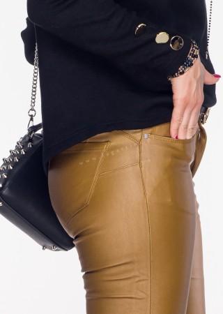 Włoskie spodnie VERONICA ZIP PUSH UP musztardowe