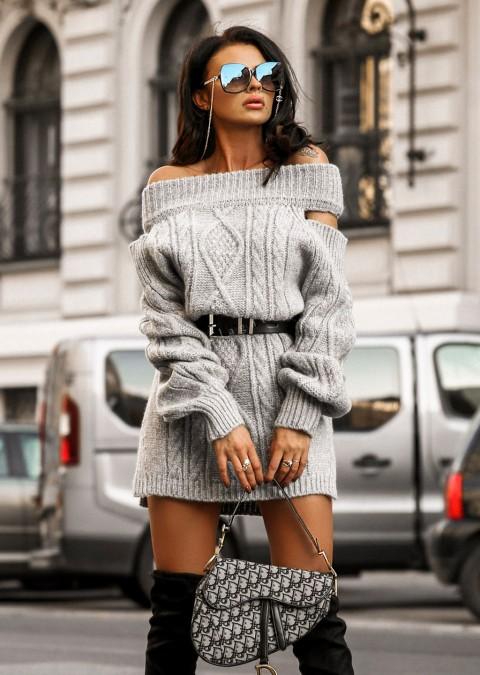 Sweterkowa sukienka SUSANNA wycięcia na ramionach szara