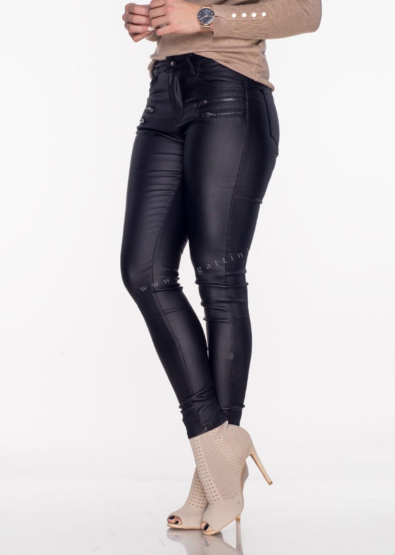 Włoskie woskowane spodnie ZIP 2 czarne