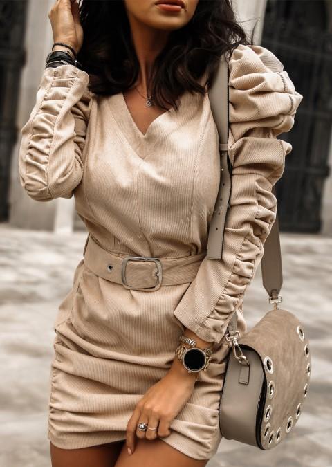 Sukienka HOLLYWOOD + pasek beżowa
