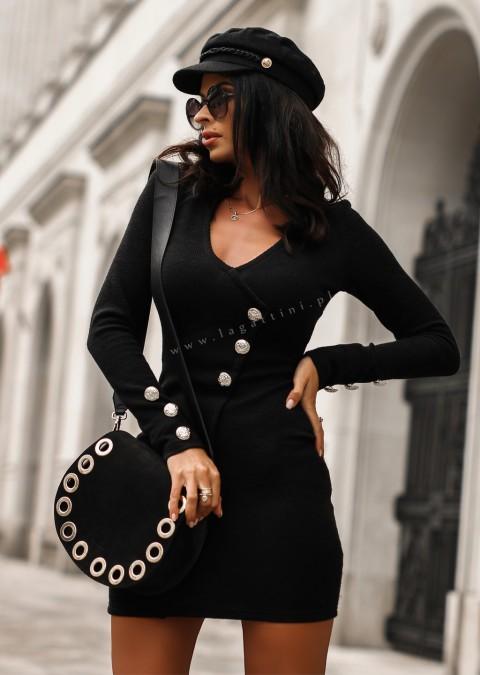 Sukienka EVENING DRESS efektowne guziki czarna