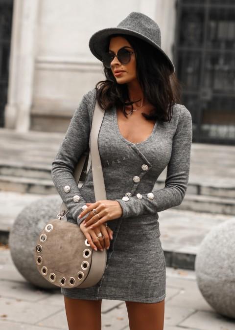Sukienka EVENING DRESS efektowne guziki szara