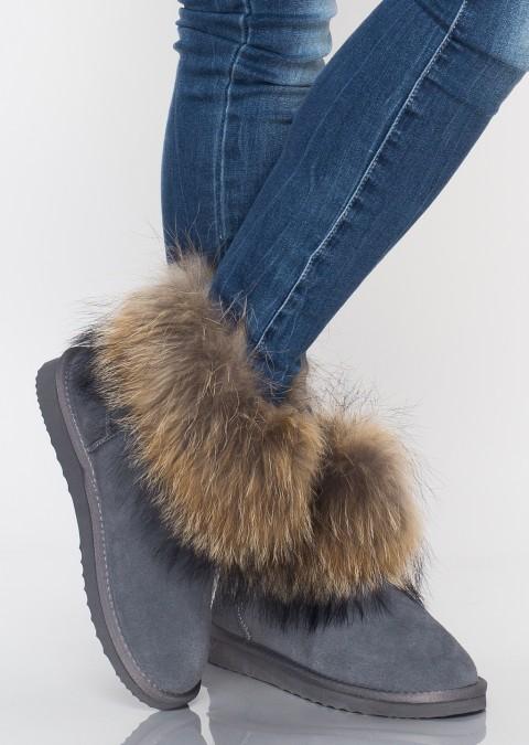 Śniegowce jenot futro skóra naturalna zamszowa szare