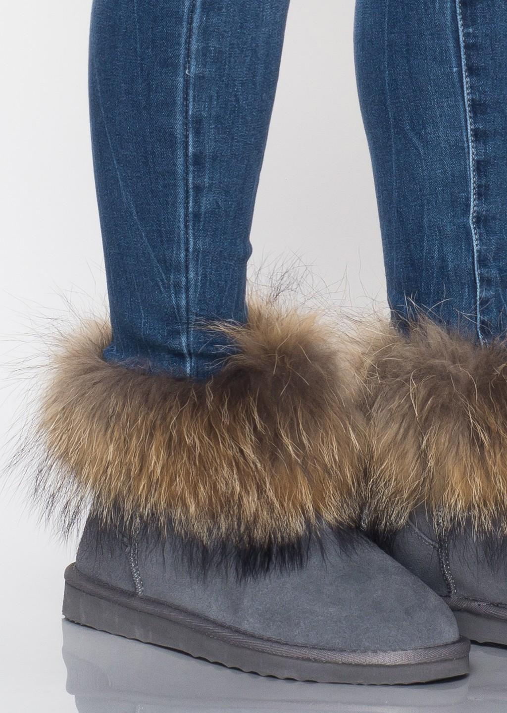 Buty śniegowce jenot futro szare
