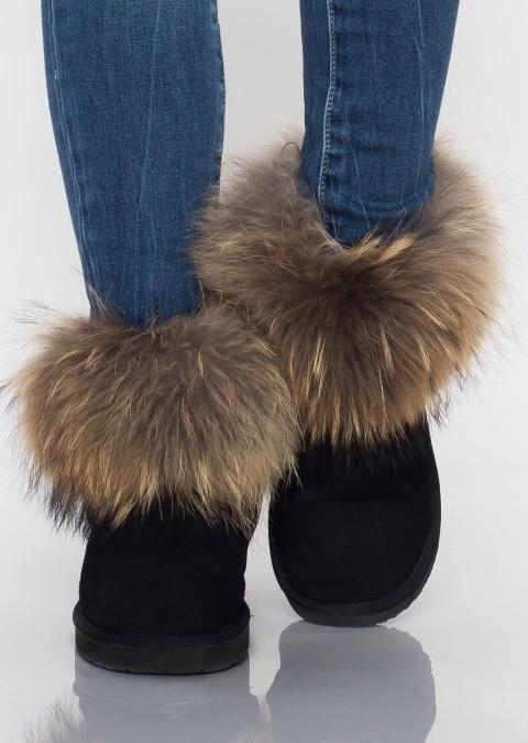 Śniegowce jenot futro skóra naturalna zamszowa czarne