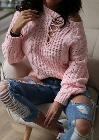 Sweterek LOREN efektywny splot pudrowy róż