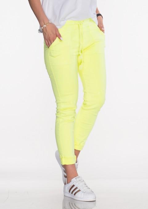 Włoskie jeansy SZNUREK PUSH UP neonowy żółty