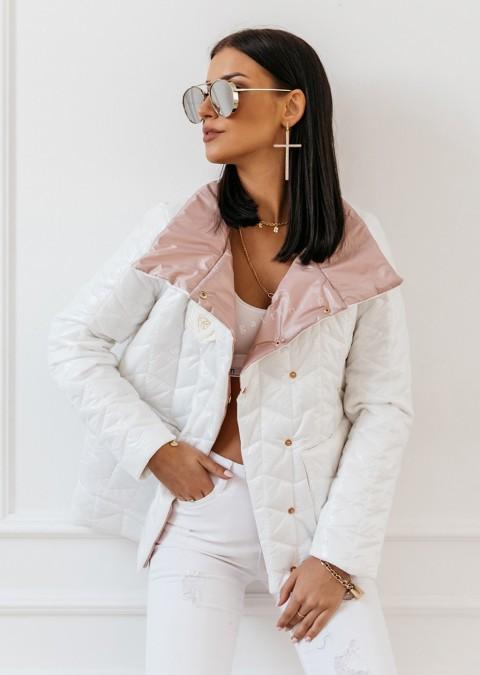 Pikowana kurtka COCOMORE biała połysk