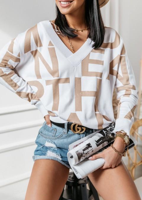 Koszula COCOMORE WORDS beżowo kremowa Lagattini  7FYZv