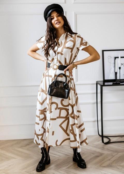 Sukienka COCOMORE + pasek maxi kremowo-brązowa