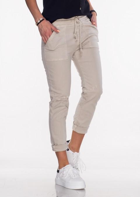Włoskie jeansy SZNUREK PUSH UP beżowe