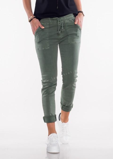 Włoskie jeansy SZNUREK PUSH UP khaki