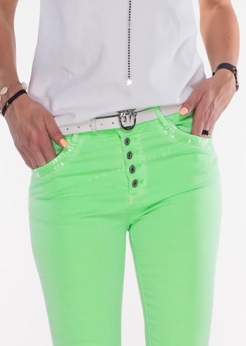 Włoskie jeansy PUSH UP zdobienia cekiny zielone