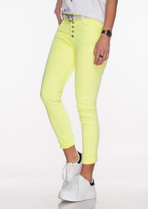 Włoskie jeansy PUSH UP zdobienia cekiny żółty