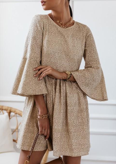 Sukienka Cocomore z gipiury beżowa