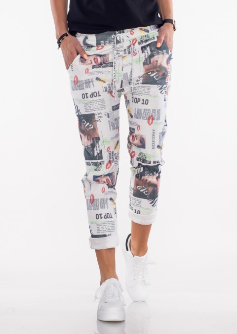 Włoskie spodnie BAGGY print