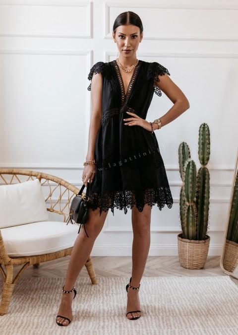 Ażurowa sukienka Cocomore czarna