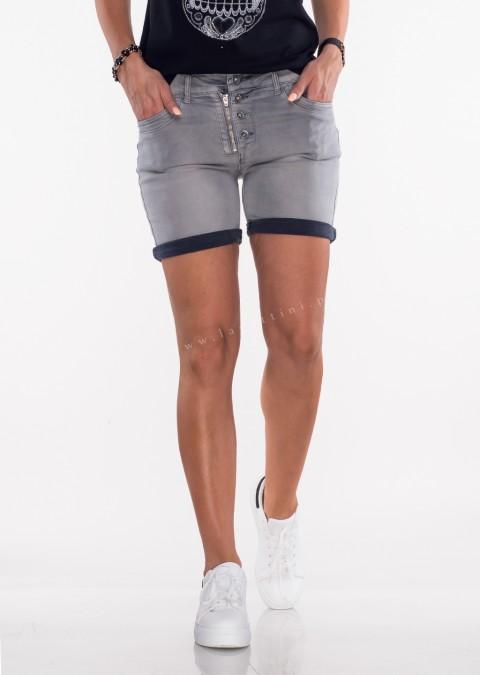 Włoskie szorty jeansowe GUZIKI ciemny szary
