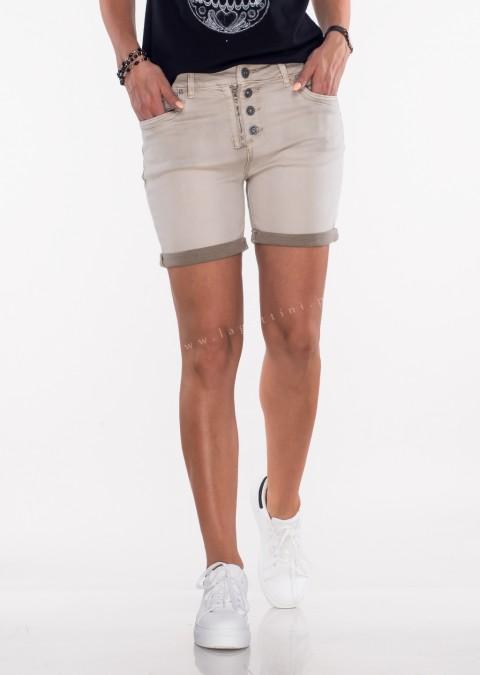 Włoskie szorty jeansowe GUZIKI beżowe