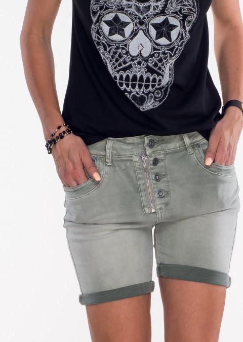 Włoskie szorty jeansowe GUZIKI khaki