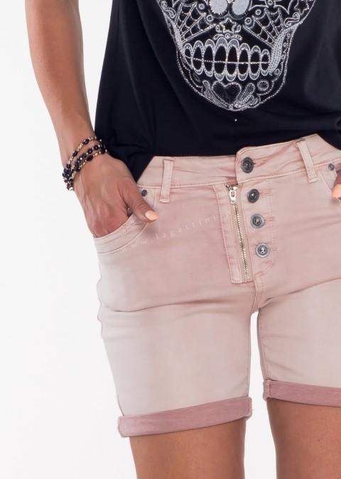 Włoskie szorty jeansowe GUZIKI różowe