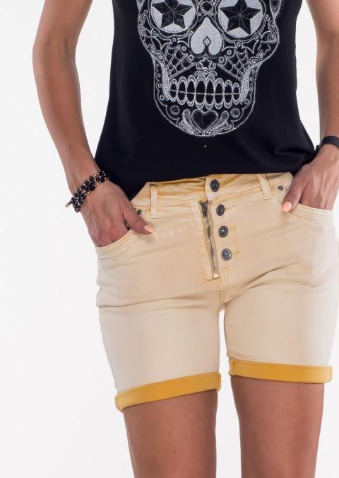 Włoskie szorty jeansowe GUZIKI żółte