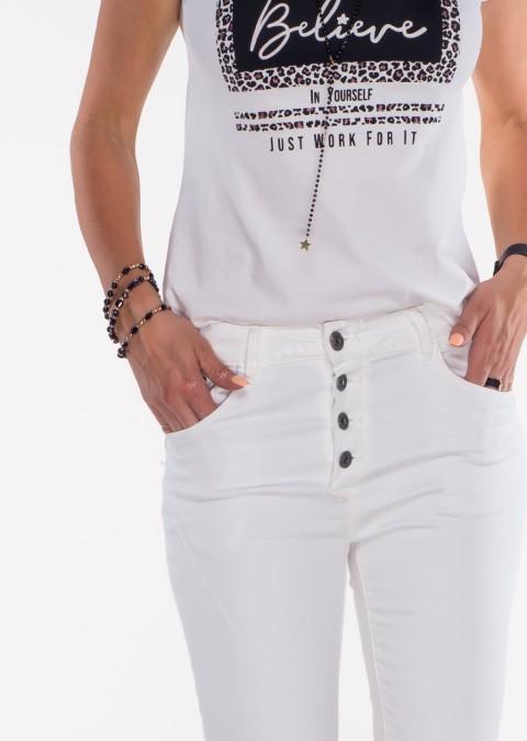 Włoskie jeansy GUZIKI przeszycia białe