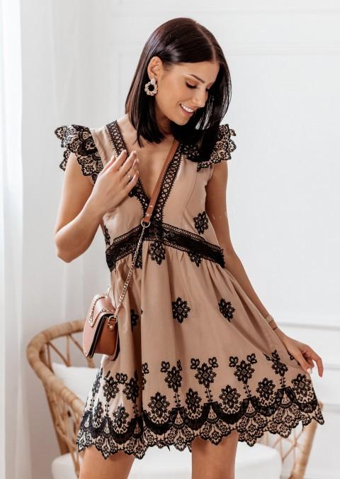 Sukienka Cocomore Haftowana karmelowa