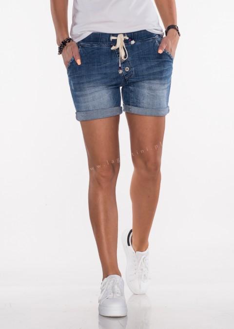 Włoskie jeansowe szorty ASYMETRYCZNE GUZIKI denim