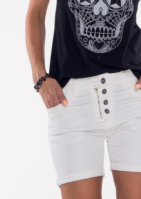 Włoskie szorty jeansowe GUZIKI białe