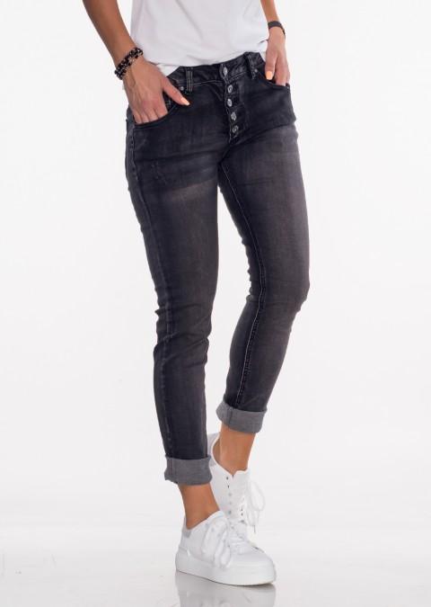 Włoskie jeansy GUZIKI przeszycia czarne 326