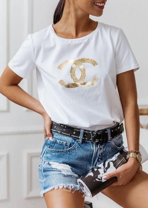 T-shirt Cocomore CC biały ze złotym zdobieniem